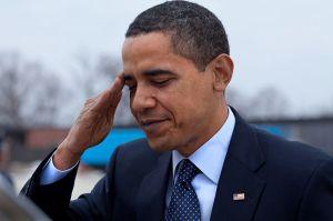 Barack Obama salutes