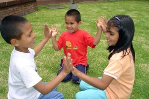 Columbian children playing games
