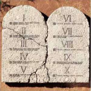 The Ten Commandments on rounded stone tablets