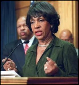 Maxine Waters speaking from a podium