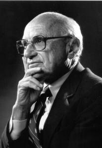 Milton Friedman in contemplative pose