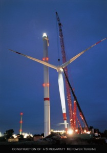 5 megawatt wind turbine under construction
