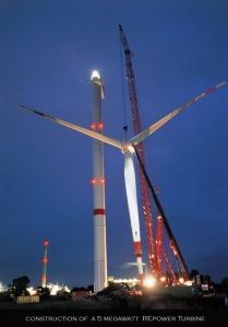 5 megawatt wind turbine under construction
